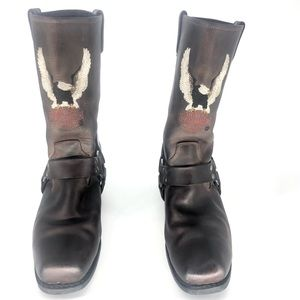 HARLEY DAVIDSON DARREN EMBROIDERED LEATHER BOOTS